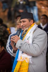 Shakti Bahadur Basnet, Nepal's Home Affairs Minister, spoke at the distribution, encouraging villagers and thanking Samaritan's Purse.
