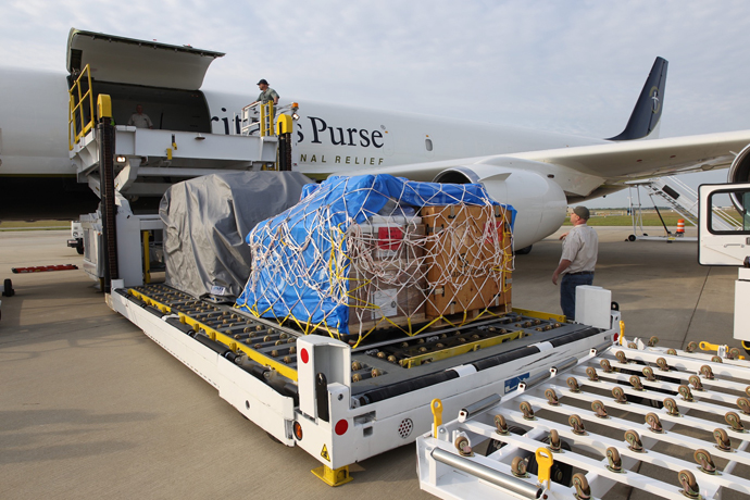Relief is loaded on our DC-8 headed for Ecuador.