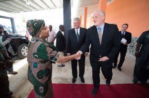 Kendall Kauffeldt, Samaritan's Purse Liberia Country Director, greets Liberia's President Ellen Johnson Sirleaf.