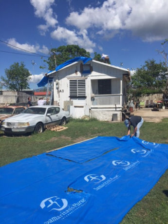 We provided heavy-duty shelter plastic to many families.