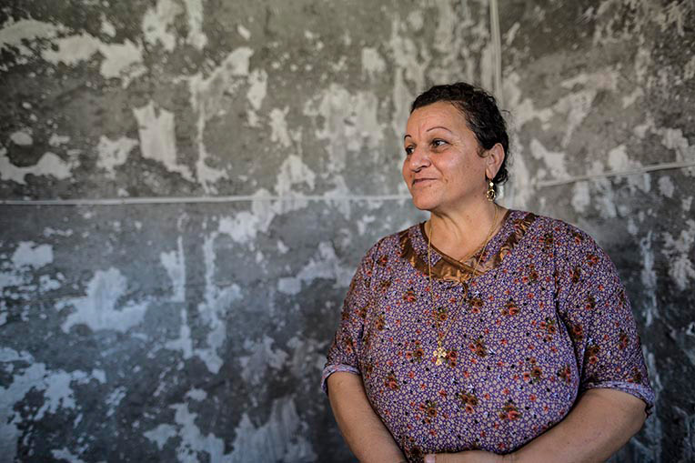 Diana thanks God for the help Samaritan's Purse is providing in rebuilding her home on the Nineveh Plains.