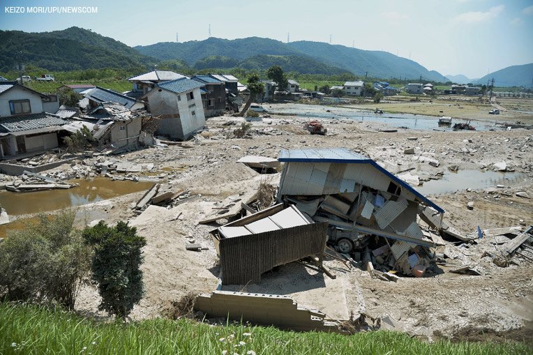 This photo, taken on 20th July shows destruction along the Odagawa River in Okayama Prefecture.