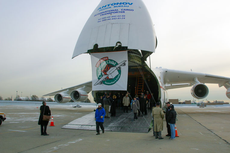 We chartered a jumbo jet to deliver the shoebox gifts to Uganda.