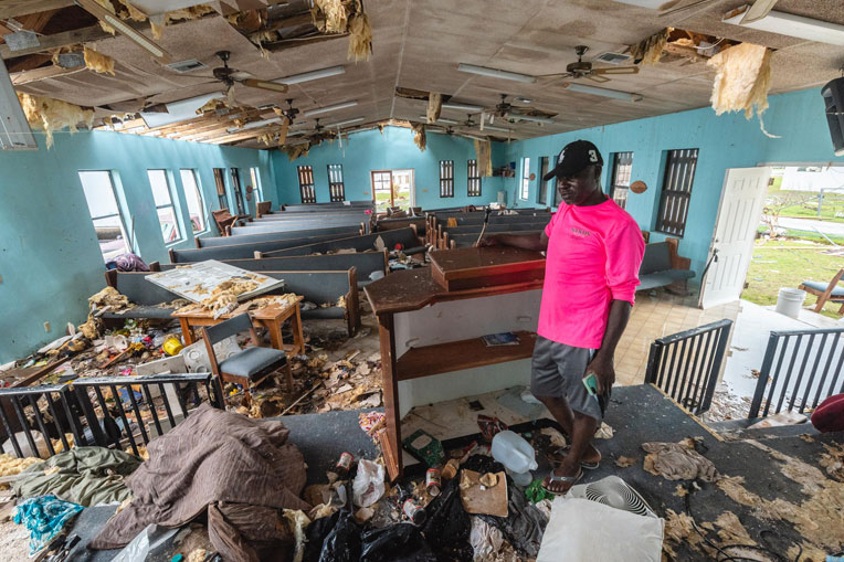 The interior of International Gospel Mission after Hurricane Dorian.