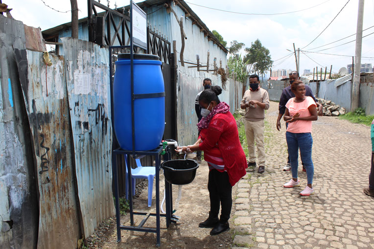 We provided handwashing stations for residents of the Korah community.