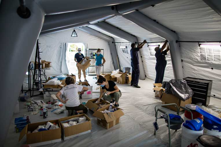 Samaritan's Purse staffers worked hard this weekend to prepare the Emergency Field Hospital.