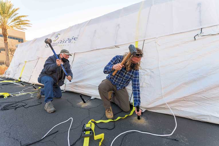 The tents for our Emergency Field Hospital are being set up in Los Angeles County.