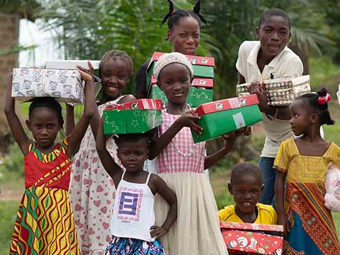 Group in Liberia with shoebox gifts